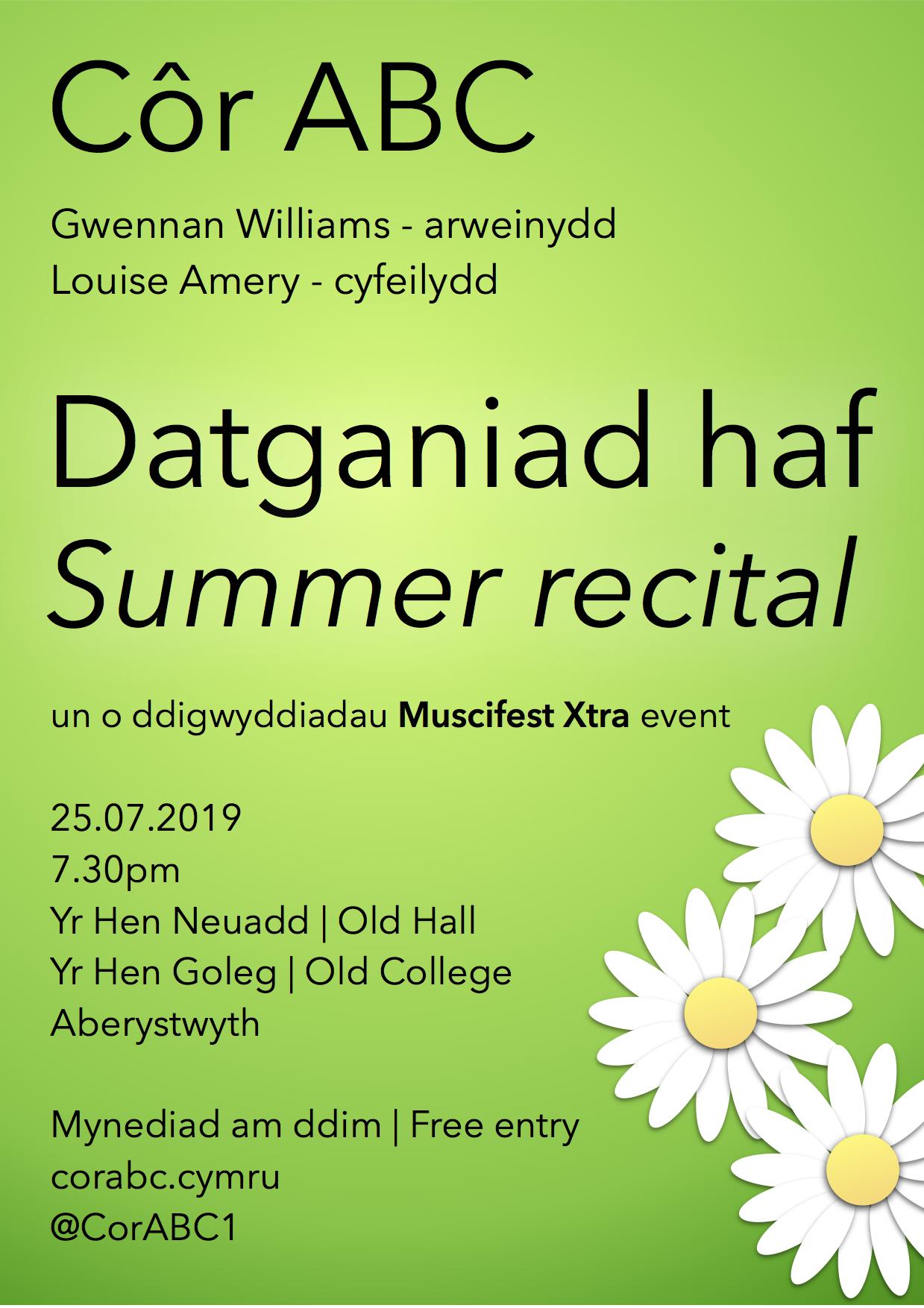 Datganiad haf | Summer recital